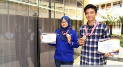 Anggun Suciati dan Paksi Ghifari Nurgana yang meraih prestasi pada Kejuaraan Nasional (Kejurnas) Pencak Silat Antar Perguruan Tinggi Piala Menpora ke-VI di Unversitas Lampung, 10-16 Oktober 2016 lalu. (Foto oleh: Dadan T.)
